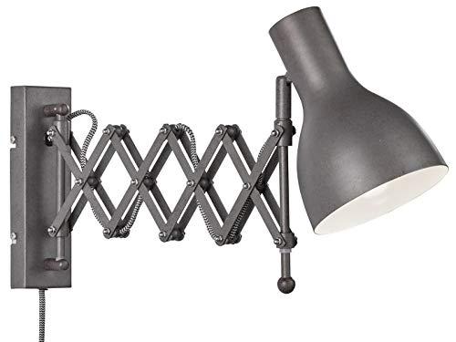 Verstelbare Honsel LED wandlamp/leeslamp PULL in vintage grijs, met snoerschakelaar