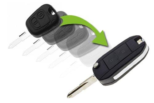 JONGO - Coque de Clé Pliable avec Lame Compatible avec Peugeot 206 | Boitier Clef Plip Voiture Télécommande 2 Boutons