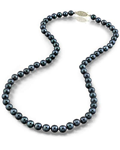 """THE PEARL SOURCE 14K Gold 5.0-5.5mm Round Genuine Black Japanese Akoya Saltwater Cultured Pearl Necklace in 18"""" Princess Length for Women"""