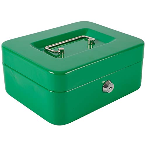 """Xydled Locking Steel Medium Cash Box with Removable Coin Tray and Key Lock,7.87""""x 6.30""""x 3.54"""""""