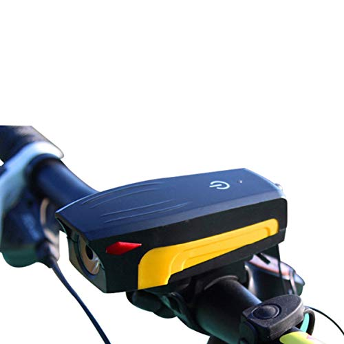 Morninganswer Luz de Bicicleta USB Bocina de Bicicleta Recargable Luz de Bicicleta LED Timbre de Bicicleta electrónico Faro de Bicicleta Luz Frontal Altavoz Naranja Amarillo