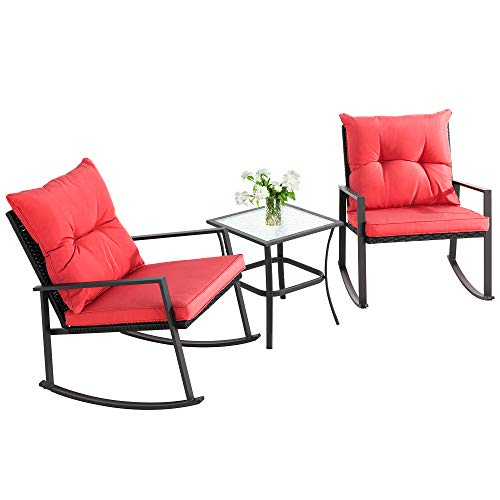 Walsunny 3 Pieces Patio Set Outdoor Wicker Patio Furniture Sets Modern Rocking Bistro Set Rattan Chair Conversation Sets with Coffee Table(Red)