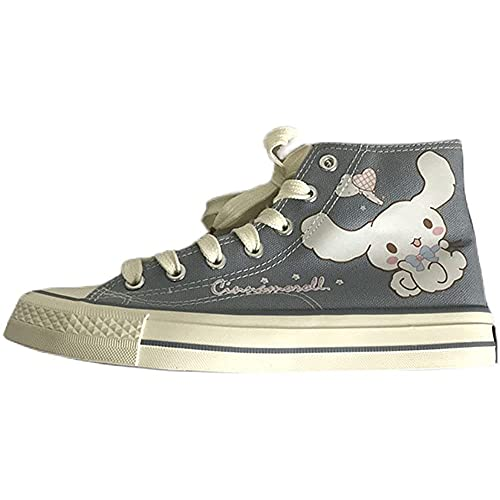 Cinnamoroll Cartoon High Top Shoes Canvas Shoes Halloween Carnival Fancy Party Cosplay Props Girl Heart Birthday Gifts (4.5)
