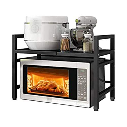 Rack XIAOR - Soporte para horno de microondas, estante para tostadora, organizador de almacenamiento con 3 ganchos de acero al carbono, fácil de montar, color negro