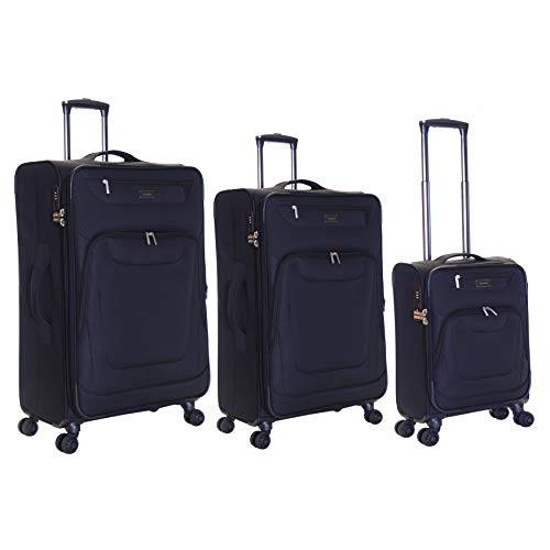 Karabar Set of 3 Expandable Lightweight Suitcases Luggage Bags Small Carry-on Cabin, Medium and Large Soft Shell Sets with 4 Spinner Wheels and Integrated TSA Number Lock, Mayfair Black
