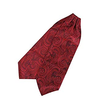 Woven Silk Party X Long Ascot Cravat Tie Tall Flower Red Long-Self Cravat Tie Ascot Graduation Big Boys C.B.AQ.J.003 Epoint Dark Red