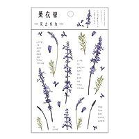 ステッカー シール かわいい pet 花柄 大容量 素材 和紙 デザイン (薰衣草)