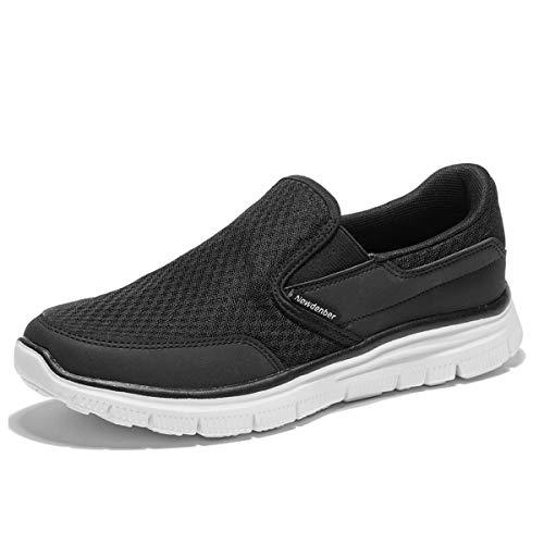 NDB Herren Leichtes Slip On Sneaker Sportschuhe Laufschuhe (49 EU, Schwarz (Black))