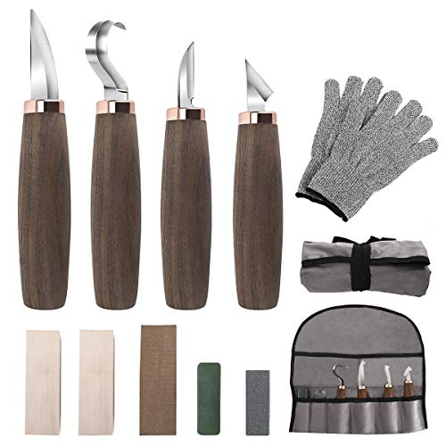 Wood Carving Tools Set of 11- Includes Wood Carving Knife,Whittling Knife,Hook Knife,Leather Strop,Polishing Compound,SharpeningStone,Tool Pouch,Cut Resistant Gloves,Wood Carving Kit for Beginners.