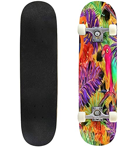 """Tropical Leaves and Exotic Flowers at Cheetah or Leopard Skin Skateboard 31""""x8"""" Double-Warped Skateboards Outdoor Street Sports Skateboard for Beginners Professionals Cool Adult Teen Gifts"""