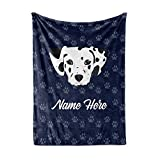 Personalized Custom Pet Dalmatian Fleece and Sherpa Throw Blanket for Men Women Kids Babies - Dog Lovers Blankets Perfect for Bedtime Bedding Dalmation Gift Moms Dads