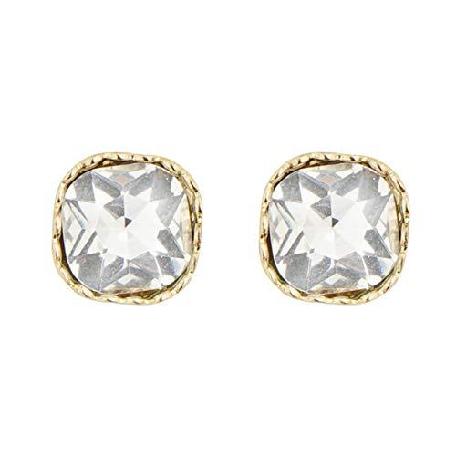ZHDXW Pendientes para mujer, estilo vintage, elegante, geométrico, aleación de zinc, cristal, joyería de regalo, aretes cuadrados de oro