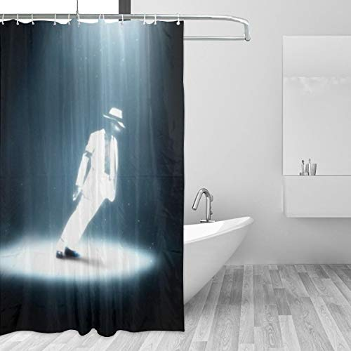 BLACKbiubiubiu Michael Jackson 152 x 183 cm Bedruckter Duschvorhang Badezimmer Wasserdichter Vorhang, 2, Einheitsgröße