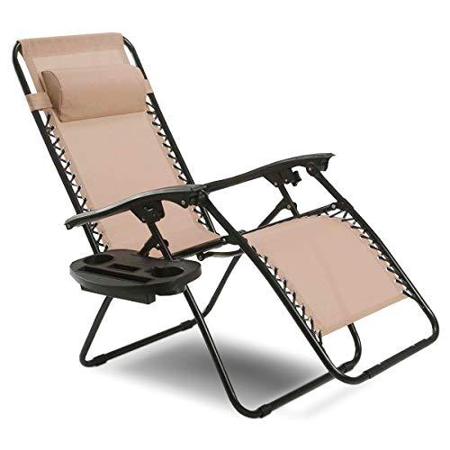Goplus Folding Zero Gravity Reclining Lounge Chairs Outdoor Beach Patio W/Utility Tray (Beige)