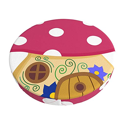 Barhocker-Bezüge rund verzauberter Wald Fliegenpilz Pilzhaus mit Tür und Fenstern, rutschfester Hocker-Kissenbezug mit elastischem Stoff für Küche, Party, Hochzeit, Bankett, Café