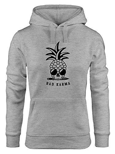 Neverless® Hoodie Damen Totenkopf Ananas Schriftzug Bad Karma Kapuzen-Pullover grau XL