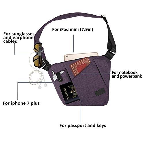 Schultertasche, Umhängetasche, Brusttasche, Tagesrucksäcke für Damen und Herren Small violett