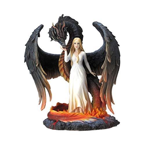 Figura Decorativa Fantasía Multicolor de Resina Hada Bella con Dragón. Adornos y Esculturas. Decoración Hogar. Regalos Originales. 15 x 21 x 25 cm.