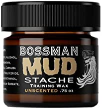 Bossman MUDstache- Mustache Training Wax, Last 24hrs, Unscented, No Tint. Tame, Train, and Style