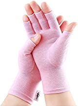 2 Pairs Arthritis Gloves, Compression Gloves for Rheumatoid & Osteoarthritis,Joint Pain Relief, Carpal Tunnel Wrist Support,Computer Typing,Fingerless Gloves for Women (Pink, Medium)