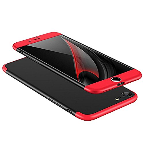 iPhone 6s/6 Case, AICase 3 in 1 Ultra Thin and Slim Hard PC Case Anti-Scratches Premium Slim 360 Degree Full Body Protective Cover for iPhone 6s/ iPhone 6 4.7' (Red+Black)