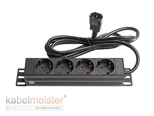 Kabelmeister SO-37333 10 Zoll Steckdosenleiste (1HE) Kaltgeräte-Stecker C14 an 4X Schutzkontakt-Buchse Kinderschutz Aluminium-Profil Schwarz