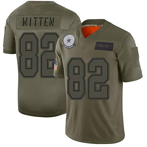 # 82 Cowboys Witten Rugby Trikot, American Football Trikot T-Shirt mit V-Ausschnitt Gestickter Name und Nummer Sweatshirt Jugendtrikot-ArmyGreen-L