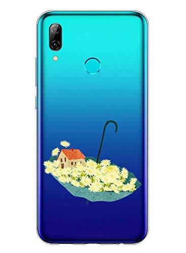 Huawei P Smart 2019 Cover Morbido,Oihxse Custodia Compatibile con Huawei P Smart 2019,Chiaro Trasparente Antiurto Anti-Graffo Silicone TPU Case,Bordi Sollevati Protezione Cover-Sottile (ombrello)