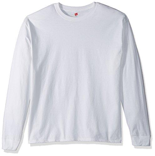 Hanes TAGLESS 6.1 Long Sleeve T-Shirt, Large White