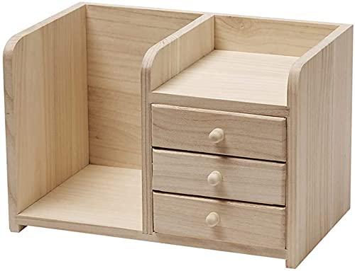 Estantería tradicional de madera maciza de 3 niveles Paulownia madera color estante organizador para escritorio con cajones, no requiere montaje