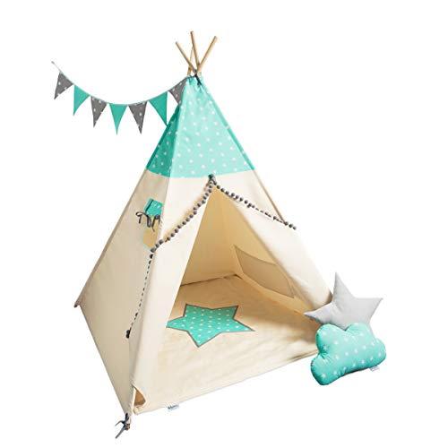 cozydots una Tienda India, Tipi Indio para los niños de 0-7 años, 150 cm de Altura, la Idea Juego Creativo para un niño y una niña, una Tienda India de Aventura (Mint Stars)