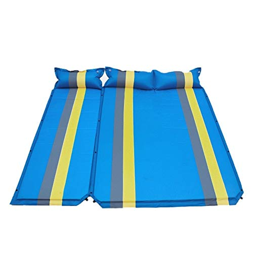 SSGLOVELIN Double Sleeping Pad 2 Person Ultra-light Portable Mattress Splicable PVC Inflatable Mat Camping Mat Outdoor With Pillow (Color : Blue, Size : 183x58x2.5cm)