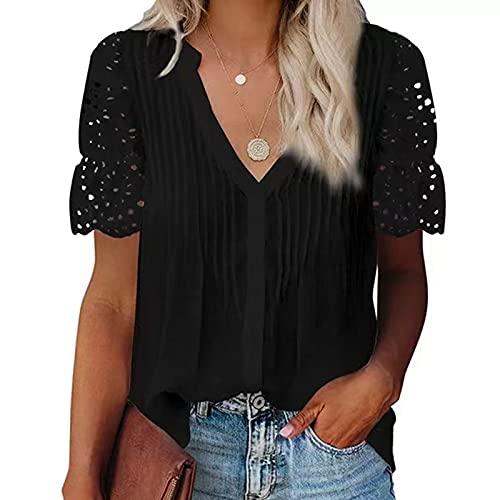TYTUOO Nuevas Señoras Camisas Blusas Suelto V-Cuello Plisado Encaje Costura De Manga Corta Señoras Verano Tops Casual Color Sólido Botón Hasta Tank Tops Mujeres