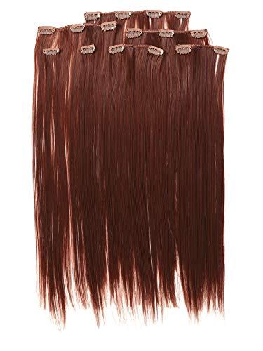 Prettyland antistatique Set de 7 pièces Clip-in 50 cm longue lisses Extensions de cheveux acajou-brun R06