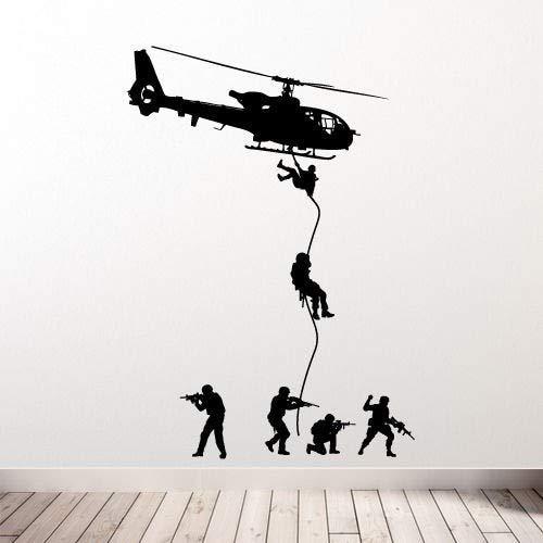ganlanshu Abnehmbare Hubschrauber Wandtattoo Militär Soldat Mann SWAT Drop Kind Junge Schlafzimmer Dekoration Vinyl Aufkleber 57cm x 76cm