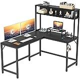 CubiCubi L-Shaped Desk with Hutch,59' Corner Computer Desk,Home Office Gaming Table Workstation with Storage Bookshelf