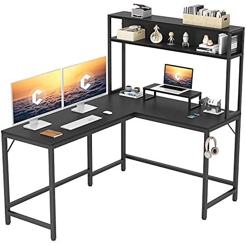 "CubiCubi L-Shaped Desk with Hutch,59"" Corner Computer Desk,Home Office Gaming Table Workstation with Storage Bookshelf"