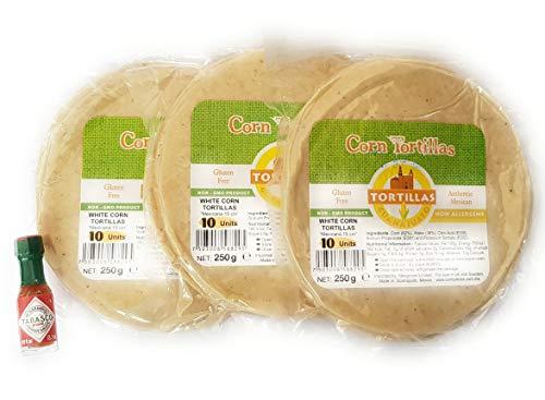 3 Packungen glutenfreie Maistortillas (15 cm) in einer Zip-Lock-Tasche (3 x 10 Stück) und 1 Mini-Tabasco (3,7 ml)