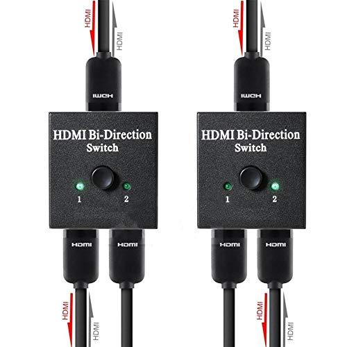 4K HDMI Switch 2 Ports Bi-directional 1x2 / 2x1 HDMI Switcher Splitter Ultra HD 1080P 3D HDR HDCP for HDTV