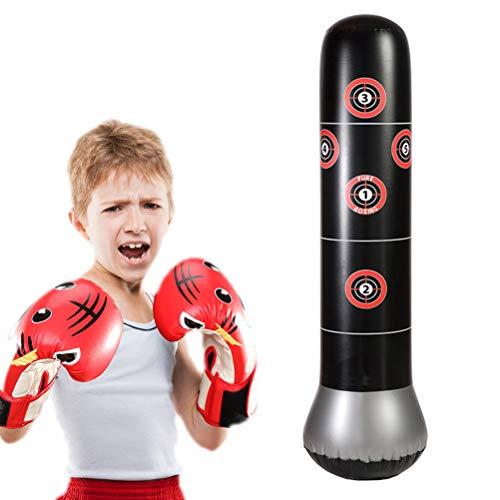 Campre Fitnesszandzakken voor kinderen, 150 cm, staande bokszak, opblaasbare bokszak, voor kinderen en volwassenen, voor fitness en decompressie, zandzakken kick vechttraining, vrijstaande bokszak trainer punching