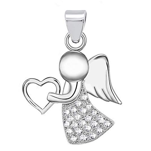 Schutzengel Herz Zirkonia Anhänger 925 Echt Sterling-Silber Damen Mädchen Engel Z54 (Silber/Anhänger ohne Kette, 22)