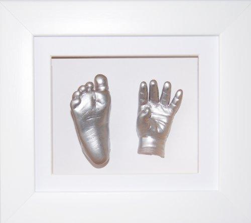 BabyRice Baby Casting Kit, 6x5' White 3D Box Display Frame/White Mount/Metallic Silver Paint