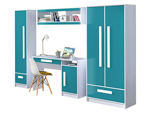 KRYSPOL Kinderzimmer Set B GULIVER Schreibtisch, Kleiderschrank, Regal, Wandregal, Farbauswahl, Kinderzimmer (Weiß/Türkis Hochglanz)