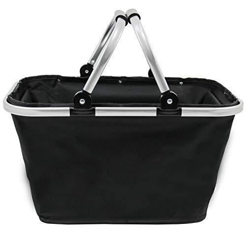 Eilvey Einkaufskorb faltbar Klappkorb Picknickkorb mit Deckel Zwei Henkel Alu schwarz 2er Set 48x28x24 cm