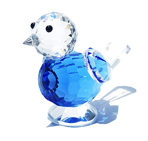 Waltz&F Crystal Bluebird of Happiness Collectible Figurines Glass Animal Figurine for Table Home Decoration