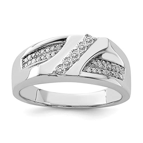 925 Sterling Silver Diamond Mens Band Ring Size 10.00 Man Fine Jewellery For Dad Mens Gifts For Him