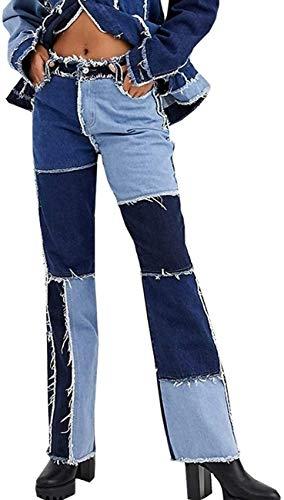 Pantalones para Mujer Patchwork Patchwork Denim Mid Cintura Colorblock Straight Jeans Denim Boyfriend Jeans Stretch Friew Edge Fashion Sexy Lápiz Pantalones (Color : Blue, Size : XX-Large)