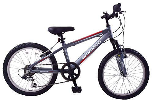 Ammaco. Viper 20' Wheel Front Suspension Lightweight Alloy Boys MTB Mountain Bike CycleGrey 6 Speed Age 7+