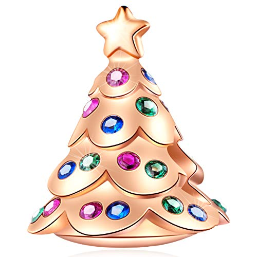 EMOSTAR Rose Gold Festive Christmas Tree Charms fits Pandora Charm Xmas Bracelet, 925 Sterling Silver Christmas Decoration Beads with Colorful CZ Stones, Gifts for Merry Christmas Day/Happy New Year