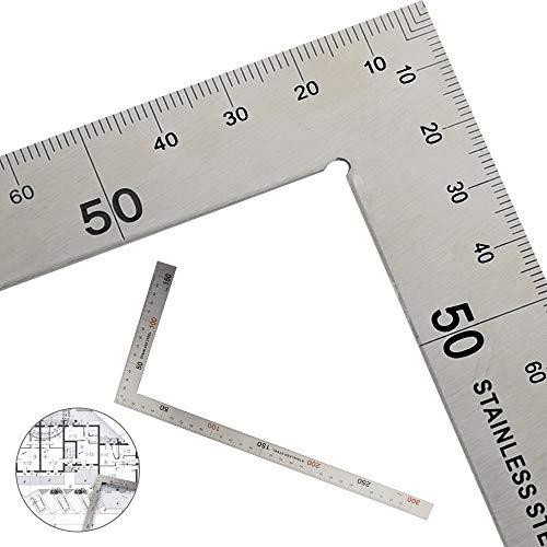 GOLRISEN Regla Cuadrada Metálica 90 Grados Regla de Ángulos Escuadra de Carpintería Escuadra de Medición de de Acero Inoxidable para Carpintero Constructor Artesanos Arquitecto(300 mm x 150 mm)